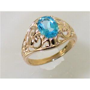 R111, Swiss Blue Topaz, Gold Ring