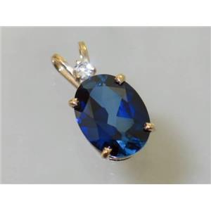 P018, Created Blue Sapphire, 14K Gold Pendant