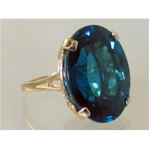 R129, London Blue Topaz, Gold Ring