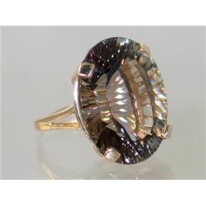 R129, Smoky Quartz (Quantum Cut), Gold Ring