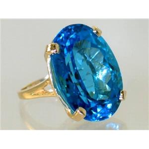 R129, Swiss Blue Topaz, Gold Ring