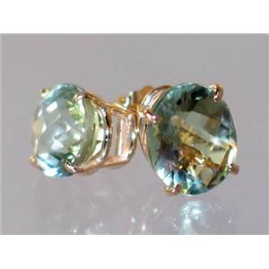 E102, Green Amethyst, 14k Gold Earrings