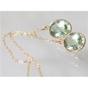 E105, Green Amethyst, 14k Gold Threader Earrings