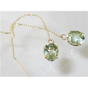 E103, Green Amethyst, 14k Gold Threader Earrings,