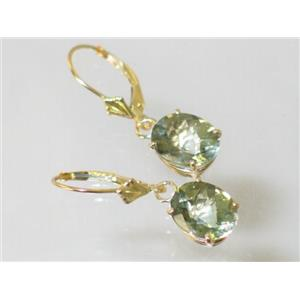 E107, Green Amethyst, 14k Gold Earrings