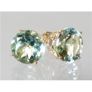 E212, Green Amethyst, 14k Gold Earrings