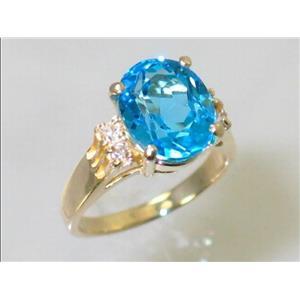R123, Swiss Blue Topaz, Gold Ring