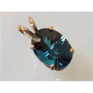 P006, Quantum London Blue Topaz 14k Gold Pendant