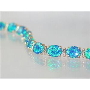 B003C, Blue Green Lab Opal Gold Bracelet