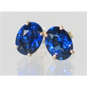 E002, Created Blue Sapphire, 14k Gold Earrings