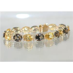 B003, Citrine & Smoky Quartz Gold Bracelet