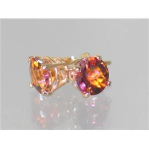 E012, Twilight Fire Topaz, 14k Gold Earrings