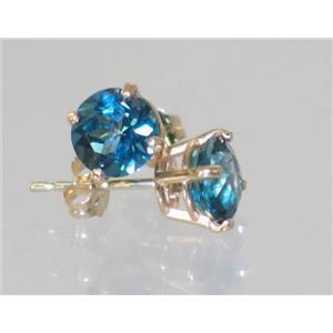 E012, London Blue Topaz, 14k Gold Earrings