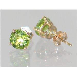 E012, Peridot, 14k Gold Stud Earrings