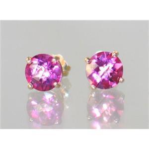 E012, Pure Pink Topaz, 14k Gold Earrings