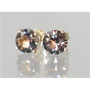 E012, Smoky Quartz, 14K Gold Earrings