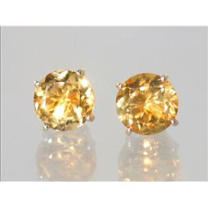E112, Citrine, 14k Gold Earrings