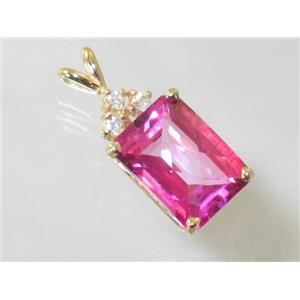P042, Pure Pink Topaz 14K Gold Pendant w/ accents