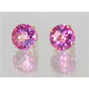 E112, Pure Pink Topaz, 14k Gold Earrings