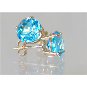 E112, Swiss Blue Topaz, 14k Gold Earrings