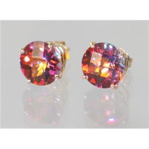 E112, Twilight Fire Topaz, 14k Gold Earrings