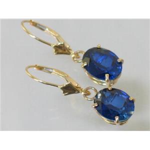 E107, Created Sapphire, 14k Gold Earrings