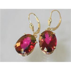 E407, Crimson Topaz, 14k Gold Earrings