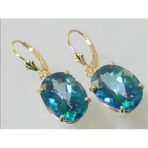 E407, Neptune Garden Topaz, 14k Gold Earrings