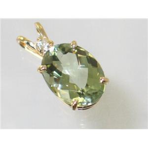 P018, Green Amethyst 14k Gold Pendant