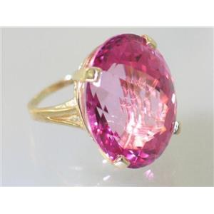 R129, Pure Pink Topaz, Gold Ring