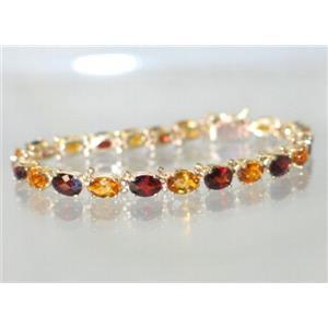 B001, Citrine & Garnet Gold Bracelet