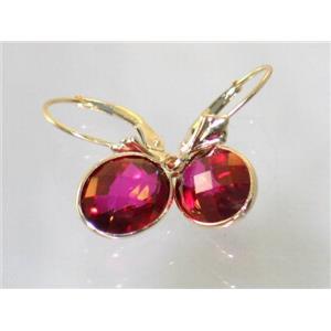 E101, Crimson Topaz, 14k Gold Earrings