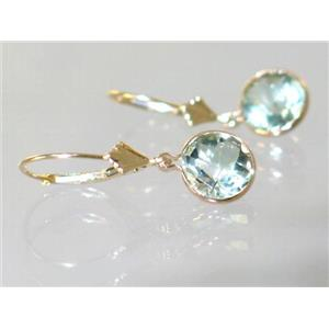 E111, Green Amethyst, 14k Gold Earrings