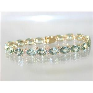 B002, Green Amethyst Gold Bracelet