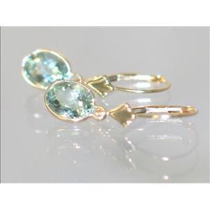 E001, Green Amethyst 14k Gold Earrings, 3 cts