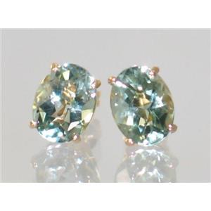 E002, Green Amethyst, 14k Gold Earrings