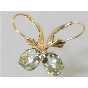 E007, Green Amethyst, 14k Gold Earrings