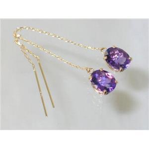 E103, Amethyst, 14k Gold Theader Earrings