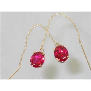 E103, Created Ruby, 14k Gold Threader Earrings