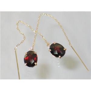E103, Mozambique Garnet, 14k Threader Earrings