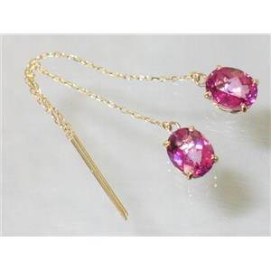 E103, Pure Pink Topaz, 14k Gold Threader Earrings