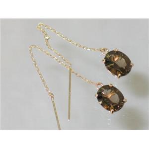 E103, Smoky Quartz, 14k Gold Threader Earrings