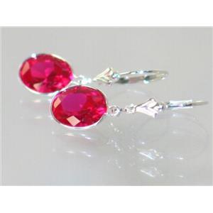 SE101, Created Ruby, 925 Sterling Silver Earrings