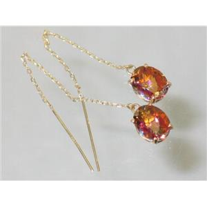 E103, Twilight Fire Topaz, 14k Gold Earrings,