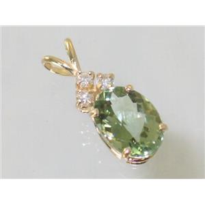 P043, Green Amethyst 14k Gold Pendant