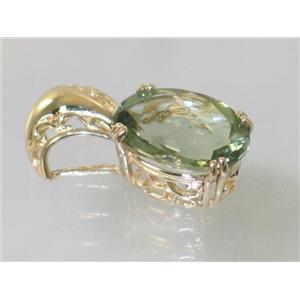 P050, Green Amethyst 14k Gold Pendant