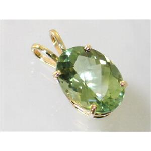 P084, Green Amethyst 14k Gold Pendant