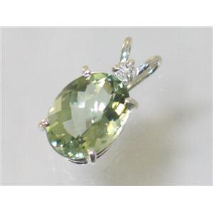 SP018, Green Amethyst 925 Sterling Silver Pendant