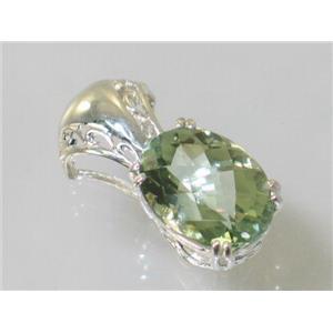 SP050, Green Amethyst 925 Sterling Silver Pendant
