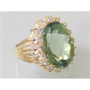R270, Green Amethyst Gold Ring